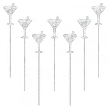 Lot de 50 piques verre cocktail transparent jetables H 10,1 cm