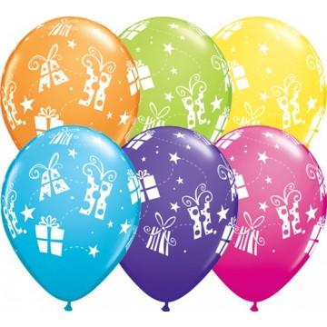Lot de 6 ballons Cadeaux et Etoiles en latex multicolore 28 cm