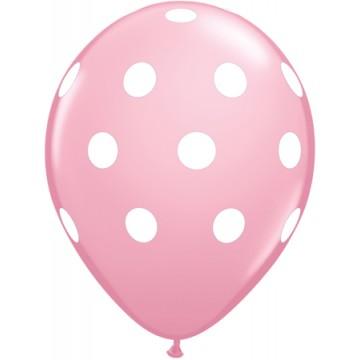Lot de 6 ballons Polka Dots en latex rose 27,5 cm