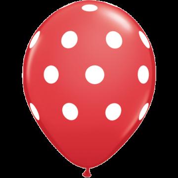 Lot de 6 ballons Polka Dots en latex rouge 27,5 cm
