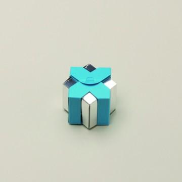 Lot de 6 boîtes Livia miroir turquoise