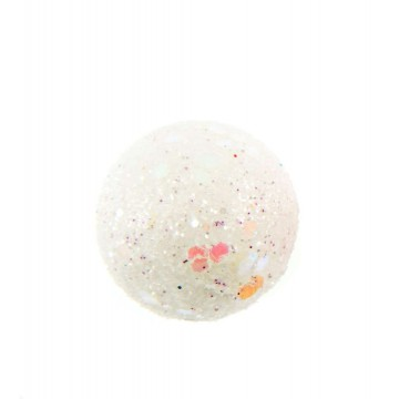 Lot de 6 Boules blanche pailleté sur tige D 3 cm