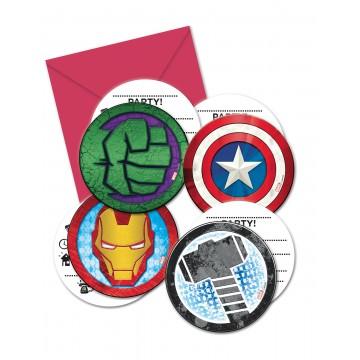 Lot de 6 cartes invitation Avengers avec enveloppe
