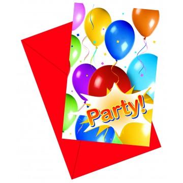 Lot de 6 cartes invitation Balloons Fiesta avec enveloppe