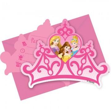 Lot de 6 cartes invitation Cendrillon avec enveloppe