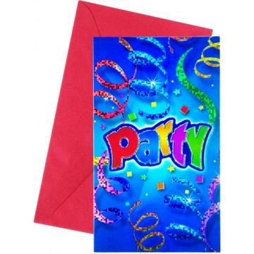 Lot de 6 cartes invitation Party Streamers avec enveloppe
