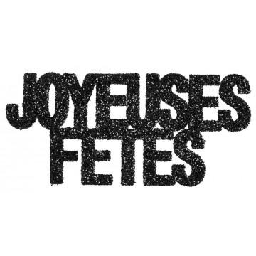 Lot de 6 Confettis de table Joyeuses fêtes noir pailleté
