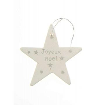 Lot de 6 étoiles Joyeux Noël à suspendre blanc/argent en bois 5,5 cm