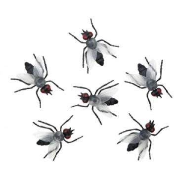 Lot de 6 mouches en plastique halloween 6x5 cm