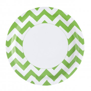 Lot de 8 assiettes Chevron kiwi 22,8 cm