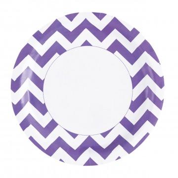 Lot de 8 assiettes Chevron violet 22,8 cm