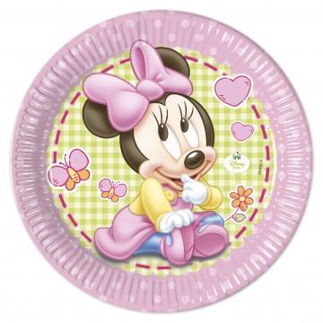 Lot de 8 assiettes jetables Baby Minnie en carton 23 cm