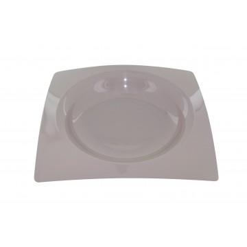 Lot de 8 assiettes jetables design en plastique taupe 20 cm