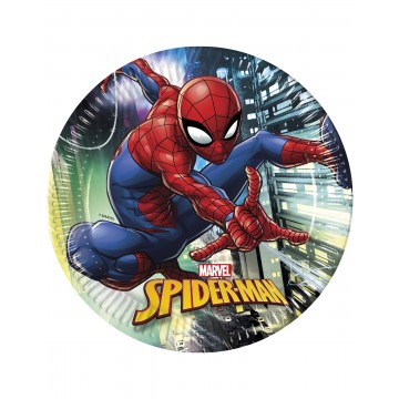 Lot de 8 assiettes jetables Spiderman publishing en carton 23 cm