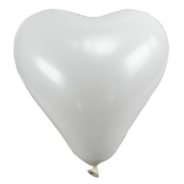 Lot de 8 ballons de baudruche Cœur en latex Blanc 35 cm