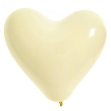 Lot de 8 ballons de baudruche Cœur en latex Crème 35 cm