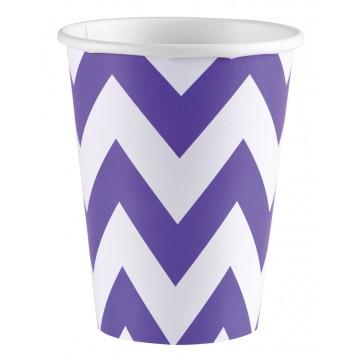 Lot de 8 gobelets Chevron violet 26, 6 cl