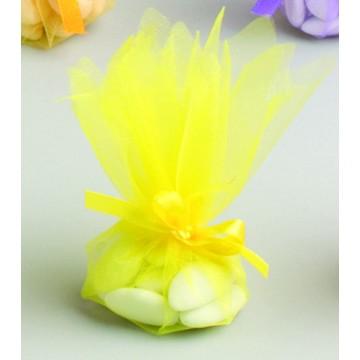 Lot de10 ronds de tulle cristal jaune D 24 cm