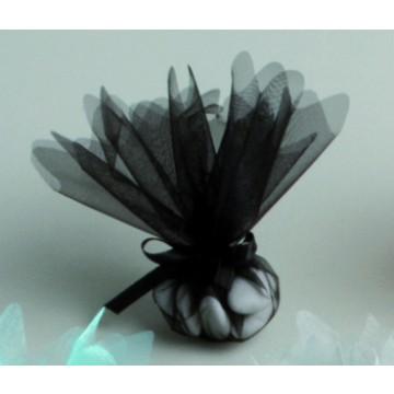 Lot de10 ronds de tulle cristal noir D 24 cm