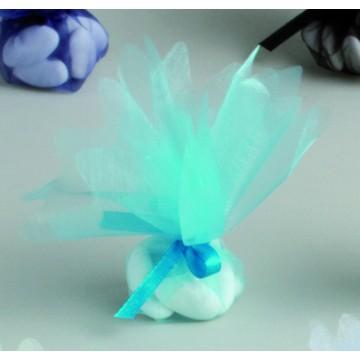 Lot de10 ronds de tulle cristal turquoise D 24 cm