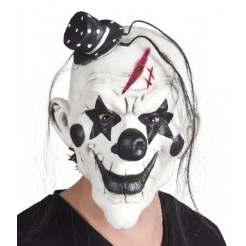 Masque Clown psycho en latex avec cheveux Halloween