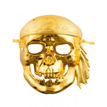 Masque tête de mort pirate doré