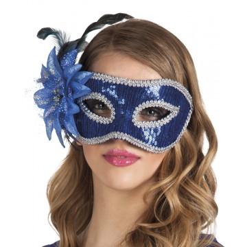Masque Venice Fiore bleu avec fleur