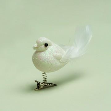 Oiseau blanc sur pince  grand modèle