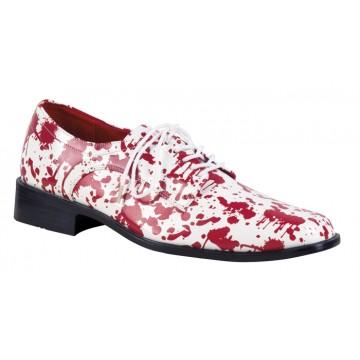 Paire de chaussures  blanches ensanglantées halloween pour homme taille 45