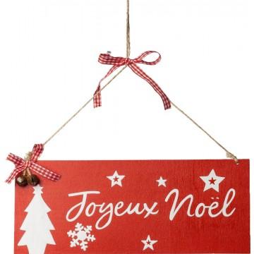 Pancarte Joyeux Noël + ruban Vichy 25 x 10 cm
