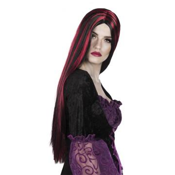 Perruque cheveux longs halloween noirs et rouges