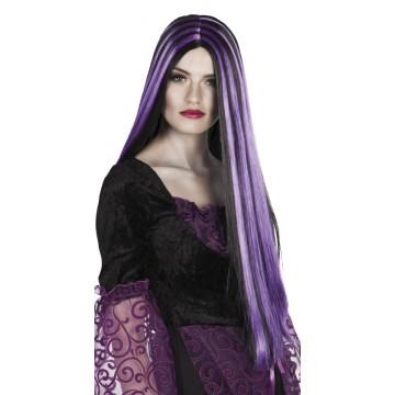 Perruque cheveux longs halloween noirs et violets