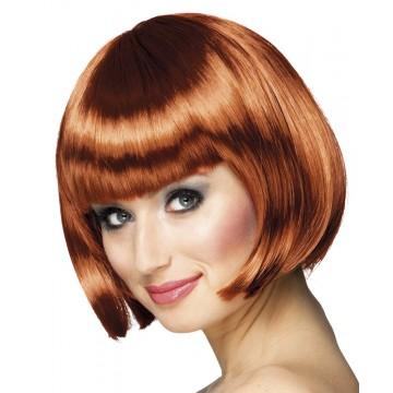 Perruque courte cabaret pour femme cuivre