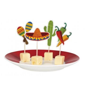 Pics à cocktail Fiesta mexicaine   Halloween modèles assortis 9 cm