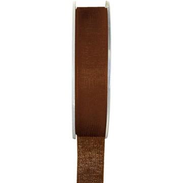 Rouleau de ruban organdi marron 25 m