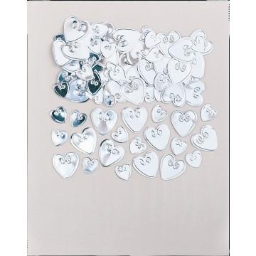 Sachet de Confettis de table Cœur Argent en relief métallique 14 gr