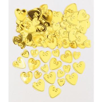 Sachet de Confettis de table Cœur or en relief métallique 14 gr