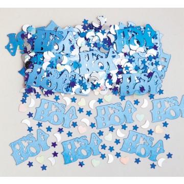 Sachet de Confettis de table it's a Boy bleu métallique 14 gr