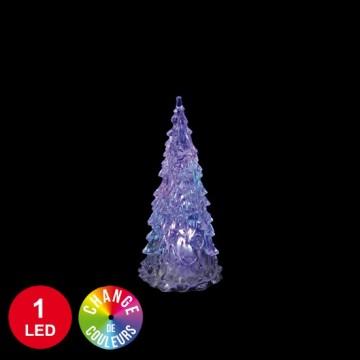 Sapin lumineux 1 LED avec changement de couleur 12,5 cm