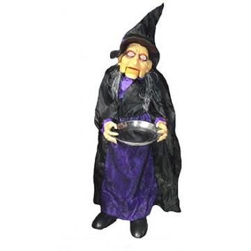 Sorcière articulée avec lumière et bruit Halloween 100 cm