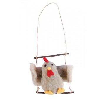 Suspension Poule sur balançoire 10 cm