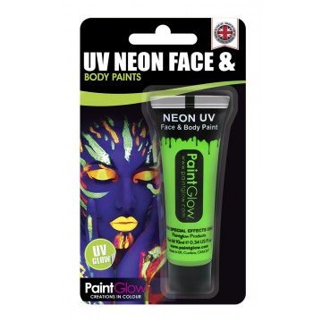 tube de peinture visage et corps body paint vert fluo uv 10 ml. Black Bedroom Furniture Sets. Home Design Ideas