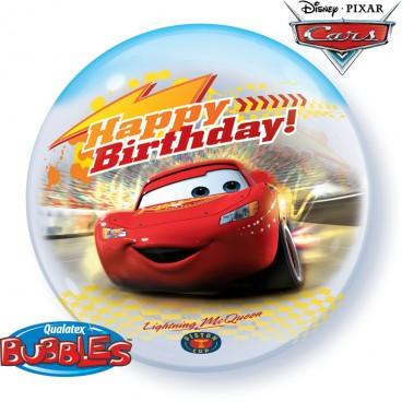 Ballon Joyeux Anniversaire Cars Bubble Transparent