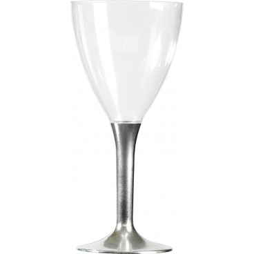 Lot de 10 verres à vin jetables en plastique pied métallisé argent