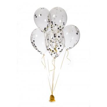 Lot De 6 Ballons De Baudruche 30 Cm Avec Confettis Blancs Noir Or